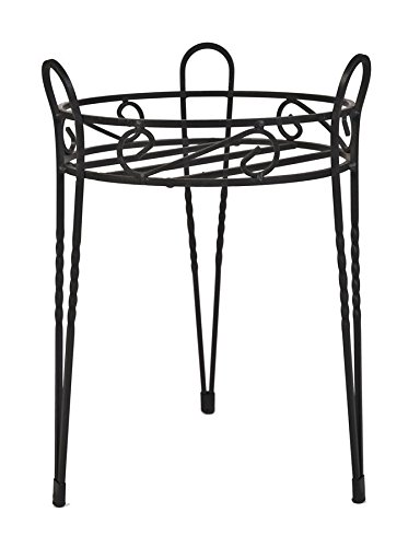 (CobraCo Canterbury 15-Inch Black Scroll Top Plant Stand SCBPS1015-B)