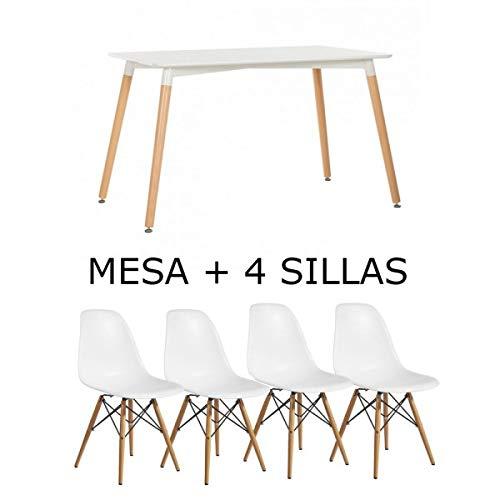 BUDMOSUR Mesa y 4 sillas réplica Eames +4 cómodos Cojines ...