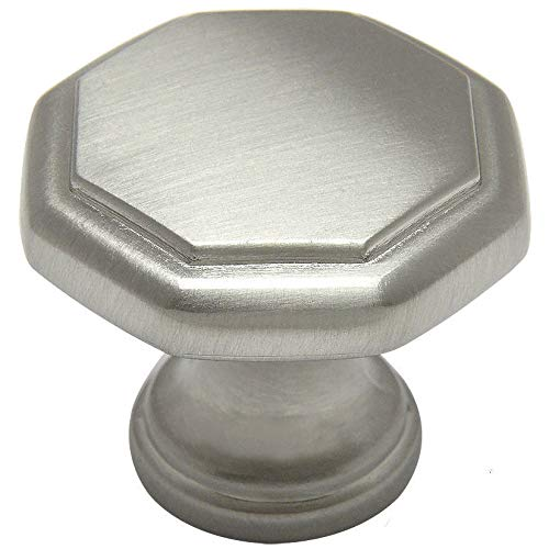 "Cosmas 5181SN Satin Nickel Cabinet Hardware Octagon Knob - 1-1/4"" Diameter"