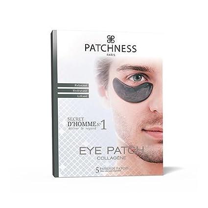 Patchness - Eye patch nero per uomo, patch correttore in collagene e acido ialuronico, 5paia 5paia