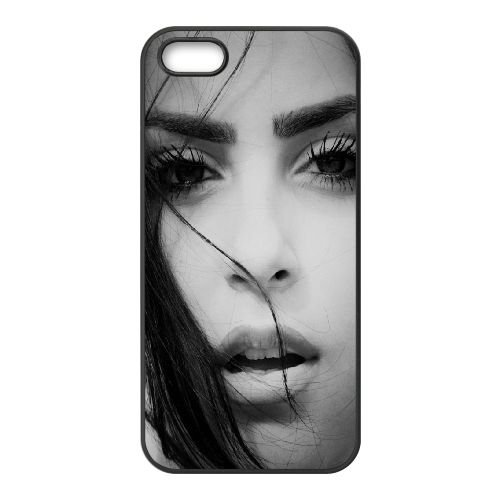Girl Face Brunette Eyes LiPs Black And White 64103 coque iPhone 5 5S cellulaire cas coque de téléphone cas téléphone cellulaire noir couvercle EOKXLLNCD23961