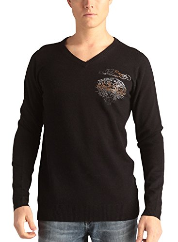Ed Hardy Men's Long Sleeve Tiger With Rhinestone V-Neck Sweater - Black - ()