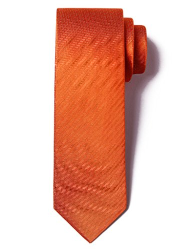 Striped Silk Skinny Tie (Origin Ties Men's 100% Silk Solid Herringbone Skinny Tie Orange)
