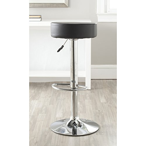 Gas Lift Swivel Stool - Safavieh Home Collection Jude Black Adjustable Swivel Gas Lift 25.6-31.5-inch Bar Stool