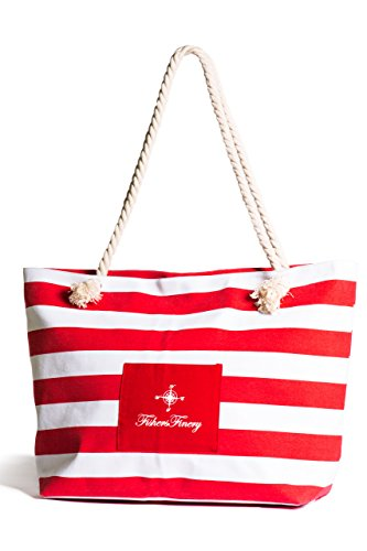 Fishers Finery Day-At-the-Beach Striped Beach Bag with Rope Handle (Red, - Bag Beach Warehouse