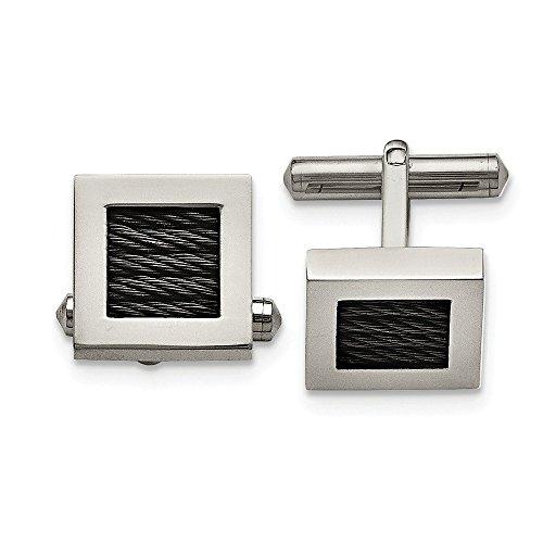 Mia Diamonds Titanium Polished Black IP-plated Wire Cufflinks