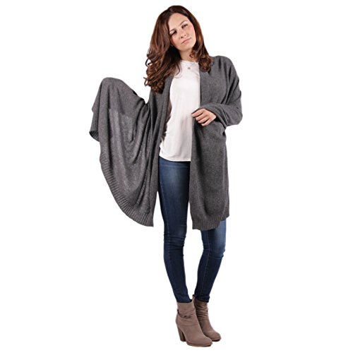 100% Cashmere Wrap ''Nora'' Classic Luxury Charcoal 72''x36'' Wrap by Lucky Bird Cashmere