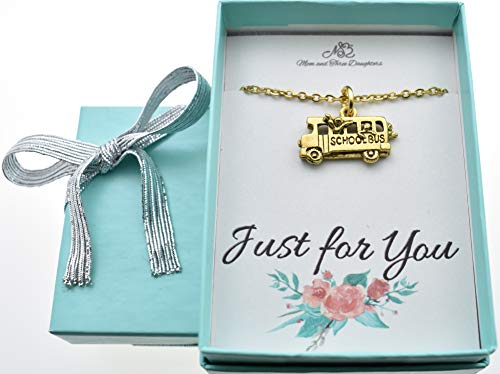 School Bus charm necklace in antique gold plated pewter on a 18 gold stainless steel cable chain with two inch extender. Bus necklace.