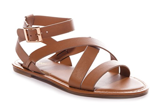Bamboo Women's Strappy Gladiator Ankle Wrap Flat Sandal in Tan Size: 10