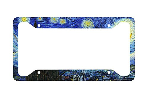 Airstrike Starry Night License Plate Frame, Van Gogh Car Tag Frame, Starry Night License Plate Holder, Van Gogh Decorative License Plate - Delta License Plate Frame