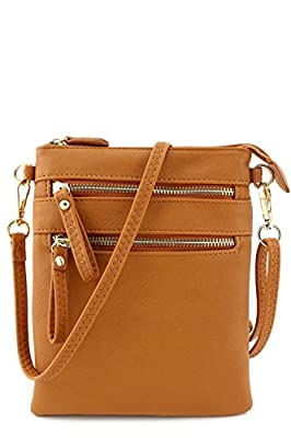 Multi Zipper Pocket Wristlet Crossbody Bag
