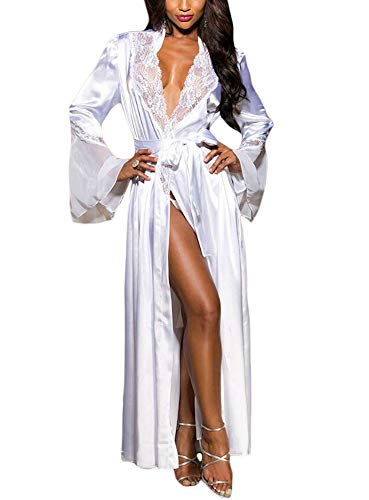 - Women Nightgown Lingerie Mesh Long Sleeve Lace Valentine Robe with Thong Gown White S