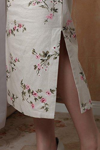 ACVIP Damen Kunst Blumen Lang Farbe2 Schlitz Langarm Cheongsam Verbessern Muster ddqarY