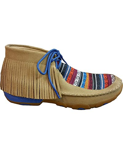 Rubber up Serape Fringe Driving Twisted Sole X Lace Tan Women's Leather Moccasins H1UwATq