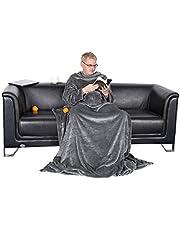 WOLTU Aksamitny koc telewizyjny z rękawami, pokrowcem i 2 kieszeniami z kaszmiru Feeling Flannel XL XXL przytulny koc koc polarowy narzuta koc z mikrofibry, 170x200cm szary, BWK5009gr