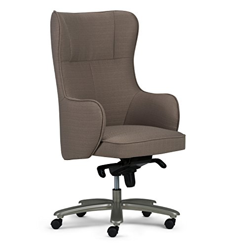 Simpli Home AXCOCHR-02 Leeds Swivel Adjustable Executive Computer Wingback Office Chair in Warm Grey 36 (Desk Wingback Chair)