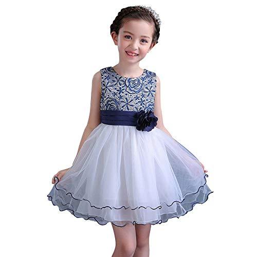 (Girls Impact Lace Bodice Dress Ruffles Multi-Layer Mesh Skirt Sleeveless Round Neck Knee-Length Dress Navy)
