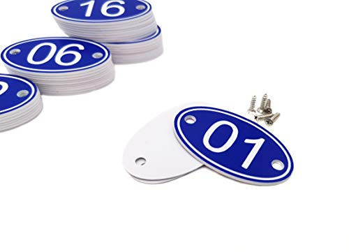 Plastic Valve Tags (ABS Engraved 30mm x 50mm Oval Table Numbers (1-50) Pubs Restaurants Clubs - Blue - 1 to 50)