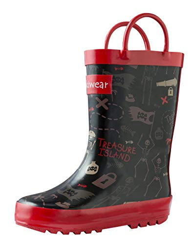 OAKI Kids Rubber Rain Boots with Easy-On Handles, Pirate Treasure, 7T US Toddler ()