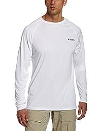 Columbia Men\'s Terminal Tackle Long Sleeve Polo, Large, White/Nightshade Logo