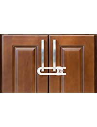 Sliding Cabinet Locks For Child Safety | Baby Proof Your Kitchen, Bathroom, and Storage Doors | Childproof Safety Locks For Knobs and Handles | Easy Install (4 Pack, White) BOBEBE Online Baby Store From New York to Miami and Los Angeles