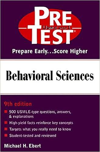 Kết quả hình ảnh cho Behavioral Sciences: PreTest Self-Assessment And Review