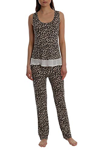 Women's Printed Light and Airy Sleepwear Set Flowy Racerback Tank Top & Pajama Bottoms - Leopard - Large ()