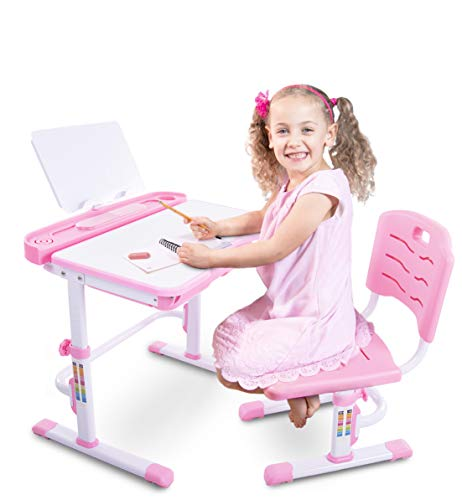 Set Workstation Wide (Einstein Kids Desk Set | Height Adjustable Children's Workstation, Grows with Your Child | Kid's Study Desk and Activity Table with Adjustable Chair | Sturdy and Durable with Easy Adjustments (Pink))