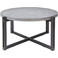 Silverwood FT1275-COF-RCC Dakota Coffee Table with Round Concrete Finish Top, 39 DIA x 19 H, Concrete Grey