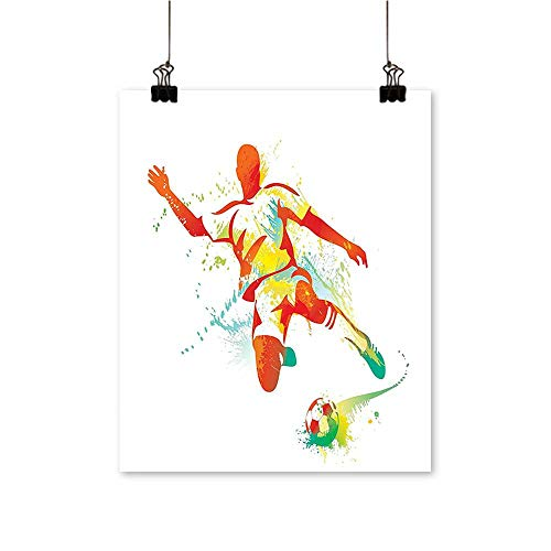 Modern Painting Soccer Player Kicks The Ball Competitions Paint Splashes Speed Boots Art Print Artwork for Home Decorations,20