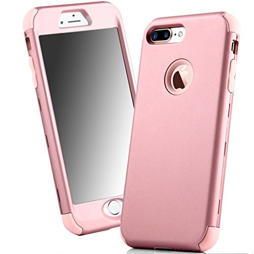 Price comparison product image iPhone 7 Plus Case, Sturdy Defender Durable Slim Hard Armor Anti-scratch Skin Matte Finish Texture Rubber Bumper Heavy Duty Protection Protective Case for Apple iPhone 7 Plus 5.5 inch - Rose Gold