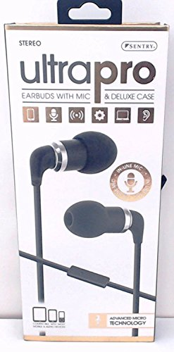 Sentry Ultra Pro Metal Earbuds with In-Line Mic & Deluxe Case, H7001 (Deluxe Mic)