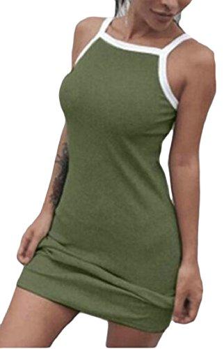 Mini Bodycon Green Women Balckless Club Sexy Strap Dresses Sleeveless Jaycargogo s Army aYwxf