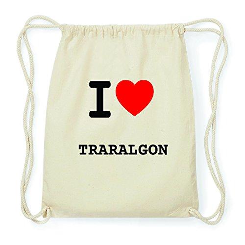 JOllify TRARALGON Hipster Turnbeutel Tasche Rucksack aus Baumwolle - Farbe: natur Design: I love- Ich liebe