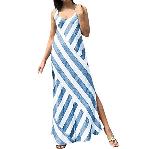 〓COOlCCI〓Women Sleeveless Maxi Dress Casual Long Dresses Beach Dresses Bohemian Stripe Dresses Side Split Tank Dress Blue
