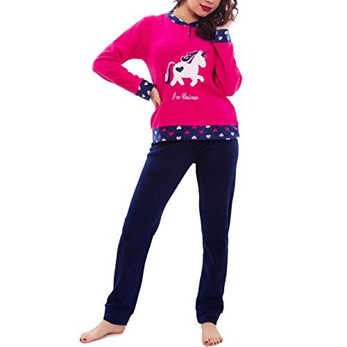 pantaloni Toocool BE F558 caldo felpato maglia 8708 UNICORNO Pigiama donna nuovo intimo Fuxia qPzrIPZ