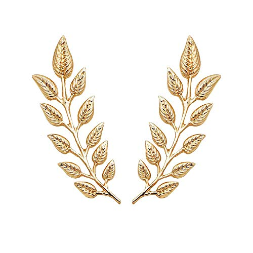 DIDA 1 Pair Elegant Gold Wheat Leaf Suit Clip Collar Pin Brooch Unisex ()