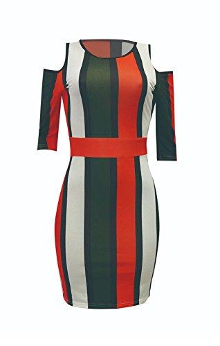 Half Stripe Out Cold Bluewolfsea Bodycon Color Shoulder Women Cut Mini Block Dress Sleeve Fashion Red n1xw44AqE8