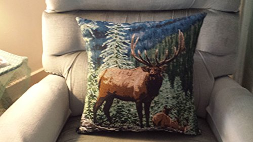 Elk in the Wilderness Tapestry Pillow
