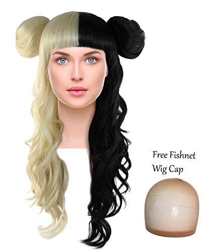 Long Curly Wig w/ Bangs Two Tone Hair Side Buns for Cosplay Costume Blonde and Black