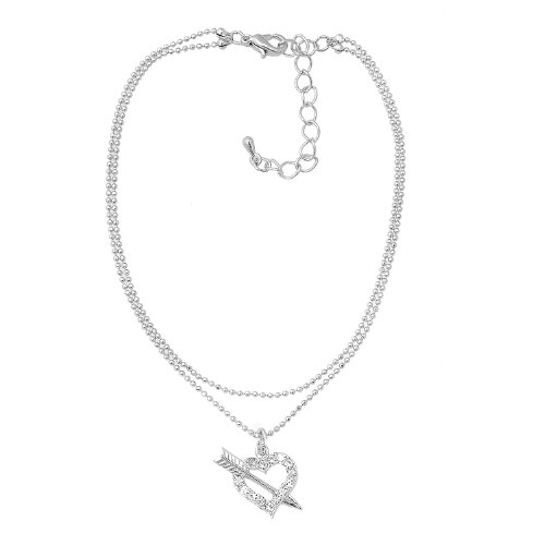 Silver Plated High Gloss Crystal Open Heart Anklet Ankle Bracelet (Heart with arrow)