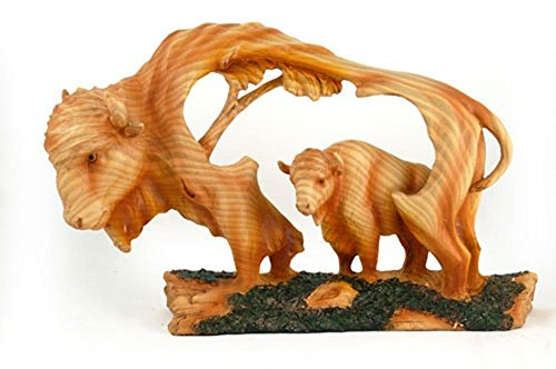 StealStreet MME-303 Large Buffalo Animal Carving Faux Wood Decorative Figurine, Brown