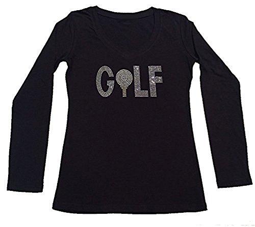 Womens Fashion T-shirt with Golf in Rhinestones (1X, Black Long - Lst Golf