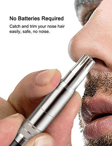 TONMA Professional Manual Nose Hair Trimmer for Men and Women, Portable Stainless Steel Nose Hair Remover Clipper, Patented Trimming System with 6 Metal Sharp Blades, No Batteries Required