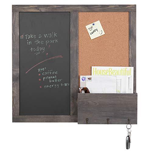 MyGift Vintage Grey Wood Chalkboard & Cork Board Entryway Organizer