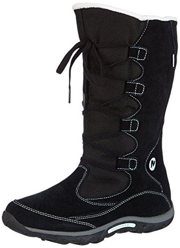 Merrell J Moc Boot Wtpf - Zapatos de Low Rise Senderismo Niños Black Mint