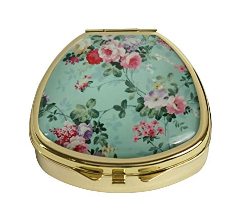 (Youroom Custom Stainless Steel Gold Fan Shaped Glass Pill Case Medicine Vitamin Manager Decorative Box (Vintage Floral Flowers))