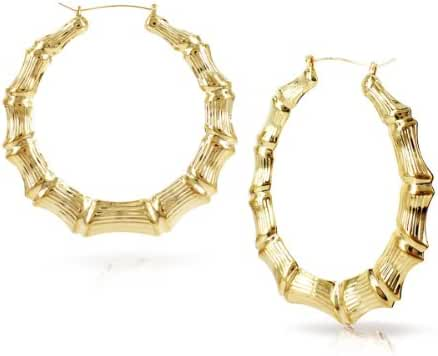 Round Hollow Casting Bamboo Hoop Pincatch Earrings (3 inches, Gold Color)