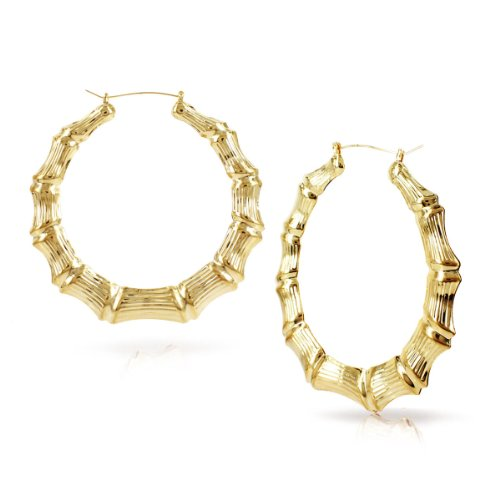 Bamboo Hoop Earrings Hoops - Round Hollow Casting Bamboo Hoop Pincatch Earrings (3 inches, Gold Color)