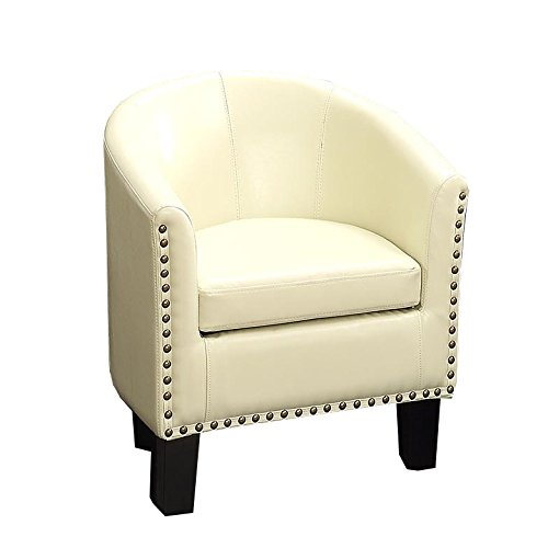 (Rosevera Home Duilio Barrel Chair, Ivory, Ivory)
